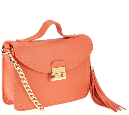 """As Is"" Isaac Mizrahi Live! Leather Mini Lock Shoulder Bag"