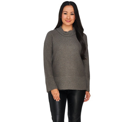 H by Halston Silk-Cashmere Blend Turtleneck Pullover