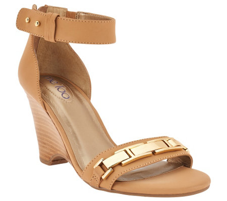 """As Is"" Me Too Ankle Strap Wedges with Metal Detail - Beverly"