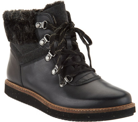 Clarks Artisan Leather Lace-up Boots with Faux Fur - Glick Claremont