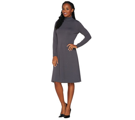 Dennis Basso Long Sleeve Fit & Flare Turtleneck Sweater Dress