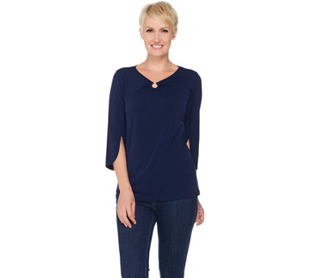 Susan Graver Liquid Knit Top with Tulip Sleeve