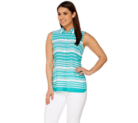 """As Is"" Susan Graver Striped Feather Weave Sleeveless Button Up Shirt"