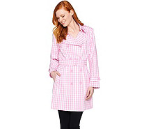 Joan Rivers Belted Gingham Trench Coat - A288717