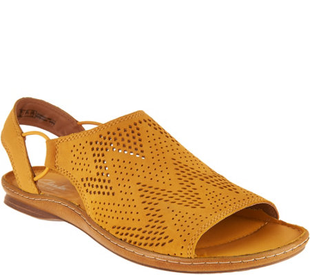 Clarks Artisan Leather Perforated Slip-on Sandals - Sarla Cadence