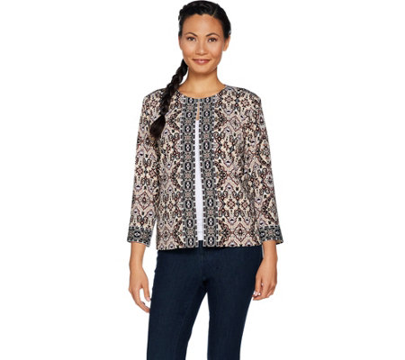 Joan Rivers Moroccan Spice Knit Jacket w/ 3/4 Sleeves