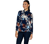 Susan Graver Printed Liquid Knit Pleated V-Neck Top with Trim - A293617