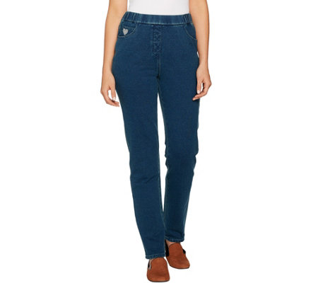 Quacker Factory Regular DreamJeannes Pull-On Slim Leg Pants