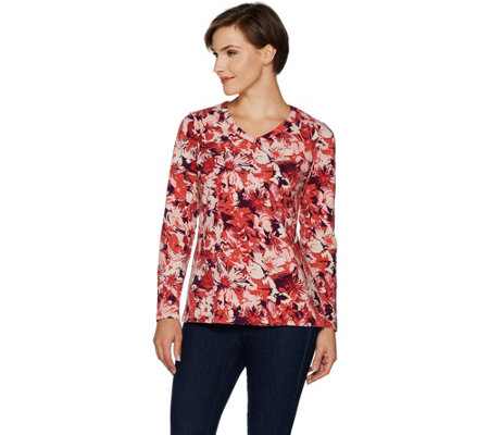 Denim & Co. Printed Perfect Jersey Long Sleeve V-Neck Top