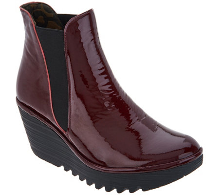 Fly London Leather Wedge Ankle Boots W Goring Yoss