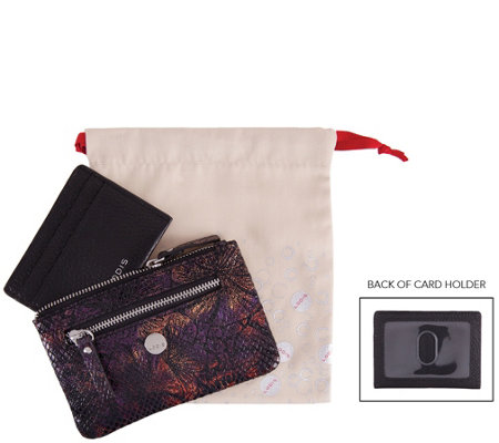 LODIS Leather RFID Zip Keychain Pouch and Card Case Set