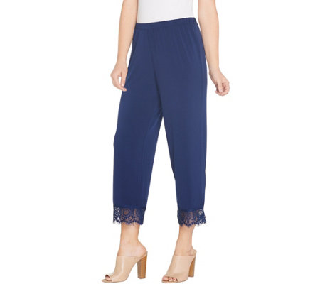 Joan Rivers Regular Pull-On Cropped Pants with Lace Cuff Detail