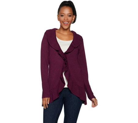 """As Is"" Isaac Mizrahi Live! Cascade Ruffle Long Sleeve Cardigan"