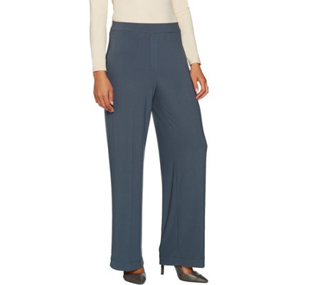 """As Is"" Susan Graver Petite Textured Liquid Knit Wide Leg Pull-On Pants"