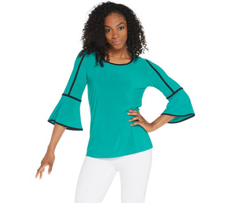Denim Co Scoop Neck 3 4 Sleeve Top W Contrast Trim Detail