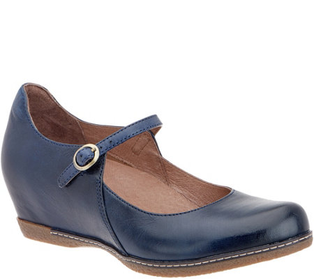 f24e60f5358 Dansko Leather Wedge Mary Janes - Loralie - Page 1 — QVC.com