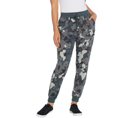 Isaac Mizrahi Live! SOHO Camo Printed Jogger Pants with Pockets