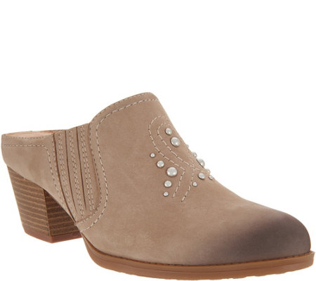 Earth Nubuck Western Detailed Mules - Mendon