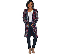 Studio by Denim & Co. Plaid Jacquard Open Front Cardigan - A342517