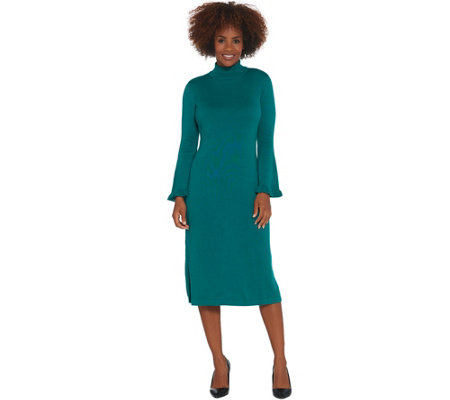 Isaac Mizrahi Live! Regular Bell Sleeve Sweater Dress