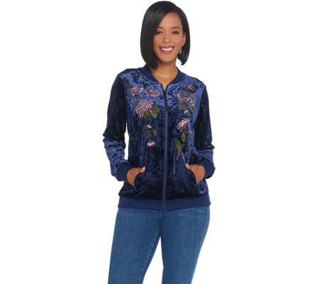 Belle by Kim Gravel Embroidered Panne Velvet Bomber Jacket