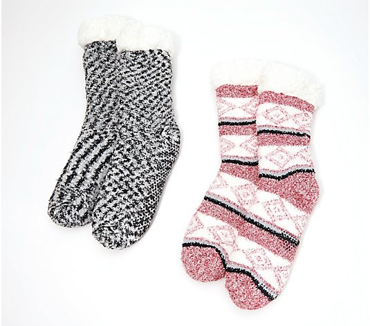 Cuddl Duds Faux Sherpa Cozy Lined Socks Set of 2