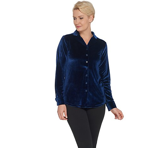 BROOKE SHIELDS Timeless Velvet Button Front Shirt