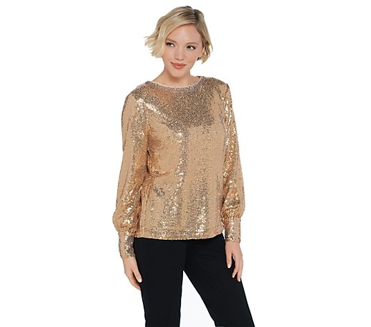 Martha Stewart Sequin Blouse with Blouson Cuffed Sleeves