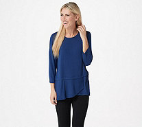 Cuddl Duds Softwear with Stretch 3/4 Sleeve Peplum Top - A346817