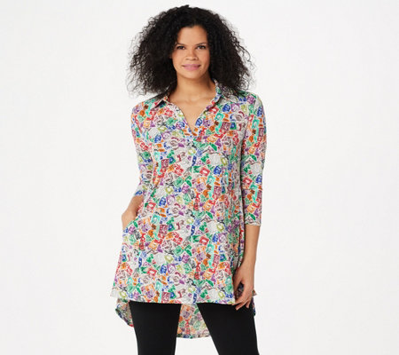 Attitudes by Renee Como Jersey Printed Collared Tunic