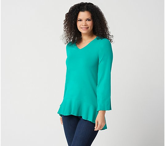 Isaac Mizrahi Live! Bracelet-Sleeve V-Neck Knit Top with Ruffle Hem