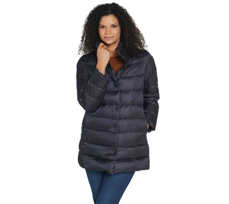 Martha Stewart Quilted Down Puffer Jacket With Packable Hood