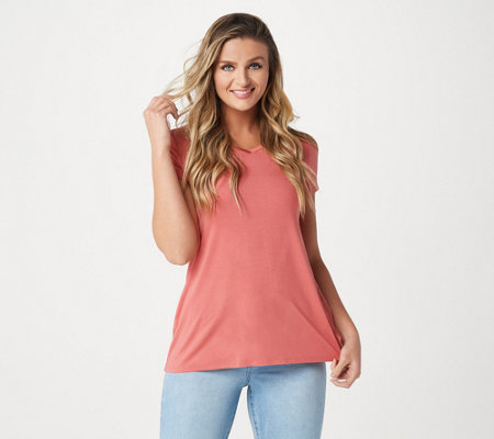 H by Halston Essentials Short-Sleeve V-Neck Hi-Low Hem Tunic
