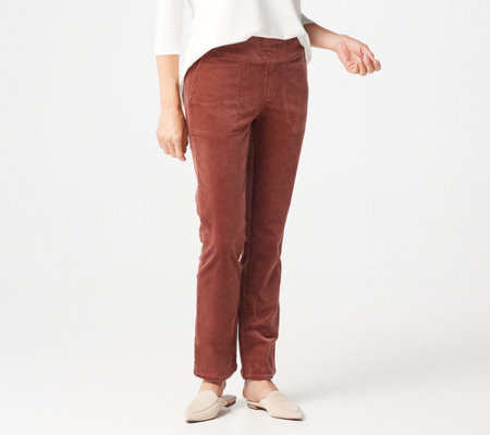 Denim & Co. Stretch Corduroy Smooth Waist Pull-On Pants