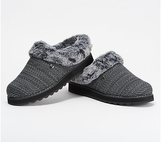 Skechers BOBs Knit Faux Fur Charcoal Clog Slippers- Keepsakes 2.0