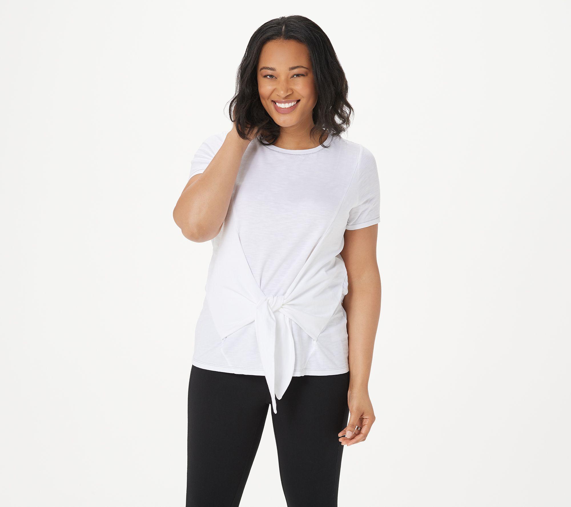 AnyBody Cozy Knit Side Tie T-Shirt Pocket Cream 1X NEW A353777