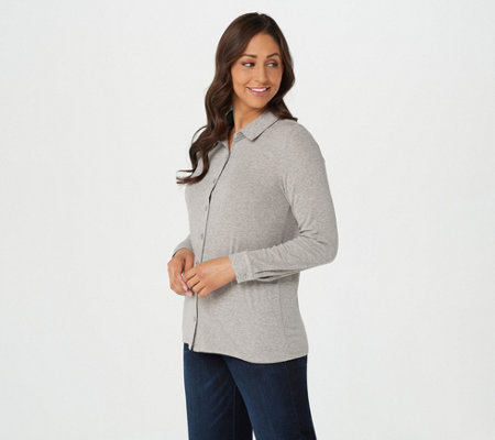 Laurie Felt Fuse Modal Long-Sleeve Button-Up Top