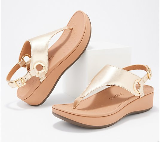 Vionic Leather Metallic T-Strap Sandals -Jolie