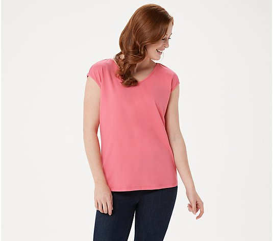 """As Is"" Bob Mackie Essential Cap- Sleeve V-Neck T-Shirt"