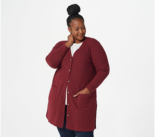 Isaac Mizrahi Live! Ribbed Button Down Front Knit Duster Cardigan