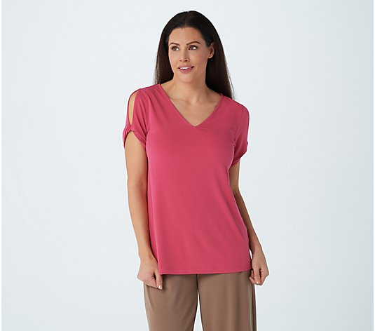 """As Is"" Susan Graver Liquid Knit Top with Twisted Split Sleeve Detail"