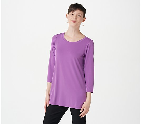 Susan Graver Petite Modern Essentials Liquid Knit 3/4 Sleeve Tunic