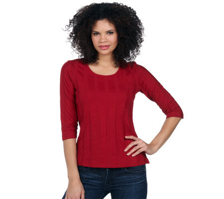 Denim & Co. Ribbed T-shirt with 3/4 Sleeve & Scoop Necklin