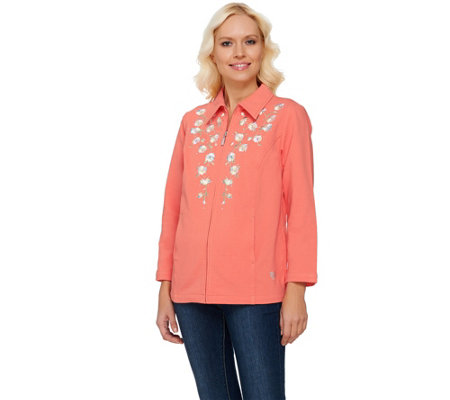Quacker Factory DreamJeannes Floral Embroidered Jacket