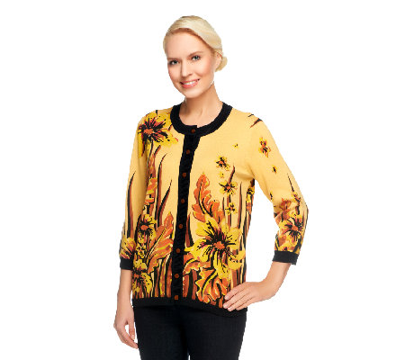 Bob Mackie's Sweater Knit Floral Placed Print Cardigan with Solid Trim