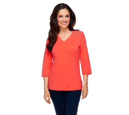 Denim & Co. Perfect Jersey 3/4 Sleeve Top with Stud Shoulder Detail
