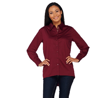 Susan Graver Stretch Cotton Button Front Shirt with Printed Placket