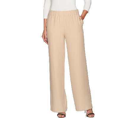H by Halston Regular Stretch Twill Pull-On Wide Leg Pants