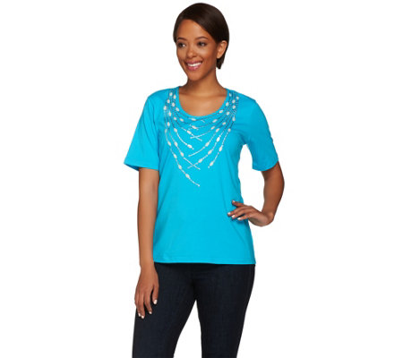 Bob Mackie's Short Sleeve Knit Top with Studded Detail