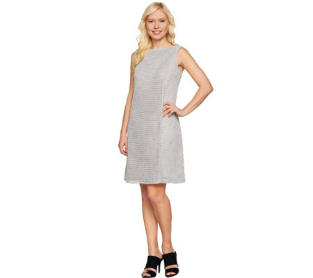 H by Halston Textured Knit Shift Dress with Overlay Detail